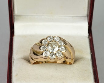 Superlative Victorian 1.50 Ct old cut diamond special daisy ring