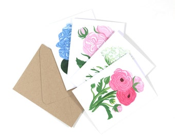 Floral Greeting Cards 2, Assorted Set of 8