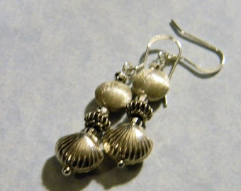 Sterling and Bali Silver Shell Drop Earrings