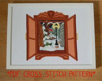 Narnia - the lion, the witch and the wardrobe - cross stitch sampler pattern