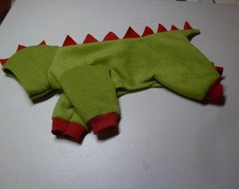 Small, Medium, Large Fleece Doggy Pajama, Doggy Pajama Costume, T-Rex, Halloween Dinosauer Costume