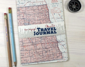 SALE % NOTEBOOK, USA, North Dakota, Fargo, travel journal, diary, notebook, atlas, map, vintage