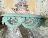 Shabby Chic wall shelf - Painted Mint green - Hearts Ribbons - Cottage Chic - Romantic Home