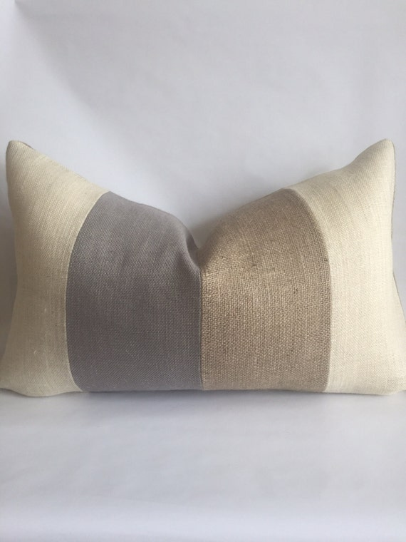 Cream Light Gray And Natural Striped Lumbar Pillow Cover