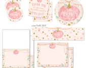 PINK LITTLE PUMPKIN fall baby girl shower complete party package coordinating baby shower decor instant digital download diy printanle files