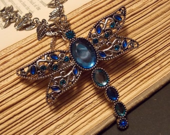 Blue and Silver Dragonfly Statement Necklace