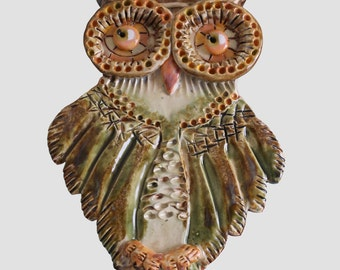 Little owl ceramic picture,hand made