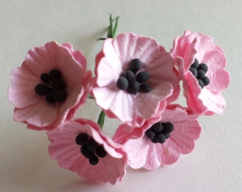 5 - Pink Poppy Mulberry Paper Flowers