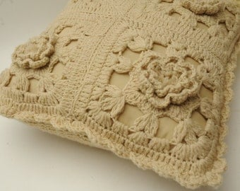 Mid Century Crocheted Cream Throw Pillow