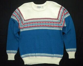 Vintage 80s Nordic Fair Isle Snowflakes Blue White Crew Neck Sweater Mens Large