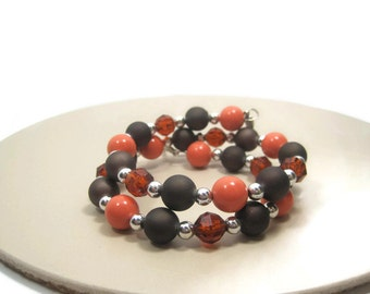 Memory Wire Wrap Bracelet - Fall Bracelet - Brown Orange Beaded Bracelet
