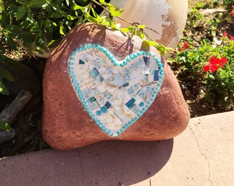 HEART MOSAIC on River Rock- Light Blue Vintage China and Blue Stained Glass   OFG Team