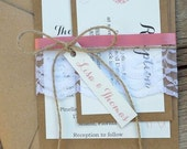 Rustic Wedding Invitation Suite with Lace, Rustic Lace Wedding Invitations with Flower, Burlap Wedding Invitation, Set of 20
