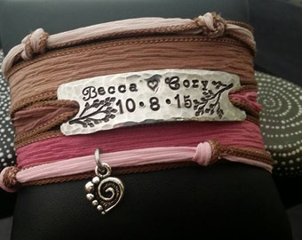 D2E  hand stamped silk wrap bracelet wedding anniversary with magnetic clasp
