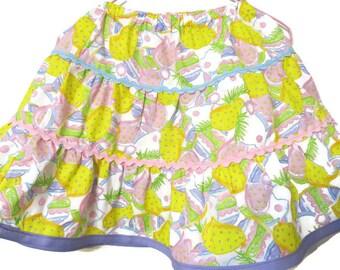 Spring Easter Skirt, Girl's Twirly Skirt, Girl's ruffled skirt, Girl's clothes, Size 4