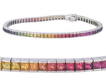 Rainbow Sapphire Tennis Bracelet 14K White Gold (16ct tw) : sku 622-14K-WG