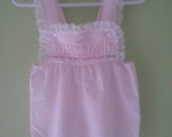 Vintage baby short overalls, pink, lace, size 12 months