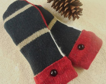 Felted Wool Mittens Red White and Dark Blue/Green Wool Stripe Design  MH38