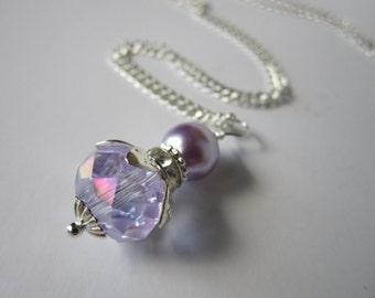 Wisteria Bridesmaid Crytsal Necklace Purple Wedding  Maid of Honor
