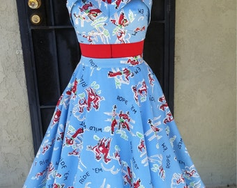 1950's style Sun Top and Circle Skirt-  Custom Made to Measure- Fabric of your choice- sizes XS-XL