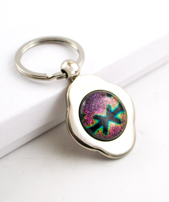 pink and green unique key chain key ring 4 leaf by