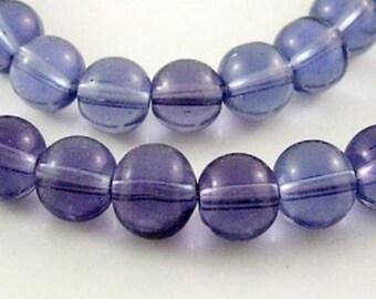 10pc 12mm medium purple round glass bead-7466