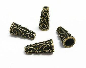 8pc 18x8.5mm antique brass finish fancy cone shape bead cap-7132L