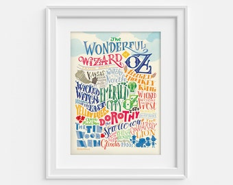 The wonderful wizard of Oz poster in handlettering: characters and places (12,60 x 18,10)