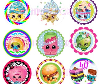 """SHOPKINS INSTANT DOWNLOAD jpg Bottle Cap Images 1"""" Digital Collage Sheet 4x6"""" Hair Bow Centers, Stickers, Magnets, and party decor"""