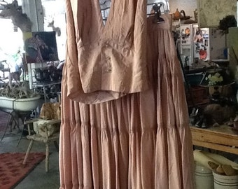 Vintage Jean of California Satin Skirt and Halter Top