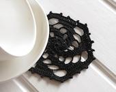 Black crochet doily Small lace doilies Geometric cotton centerpiece crochet coaster