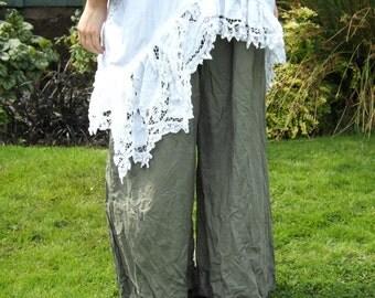 RitaNoTiara Grey European Linen cropped Priairie boho Pants trousers All sizes wide leg oversized pockets made to order lagenlook layering