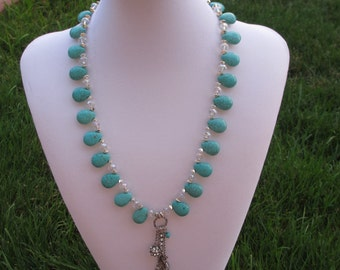Turquoise Glass Beaded Flex Wire Necklace With  Seahorse And Shell Charms