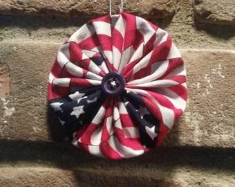 American Flag Fabric Yoyo Christmas Ornament