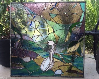 Stained Glass Window Egret Marsh Transom Panel w Agates