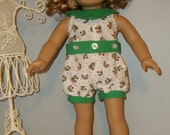 18 Inch American Girl doll  cute summer romper/sunsuit  by Project Funway on Etsy