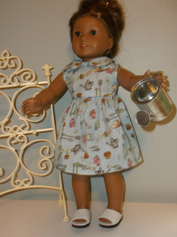 18 Inch American Girl doll Clothes Gardening sundress and watering can by  Project funway on Etsy