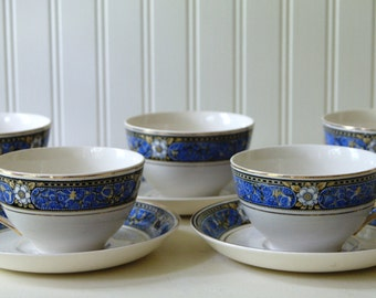 Johnson Brothers English Ironstone China Pareek Devon Blue White Pattern 5 Cups and Saucers