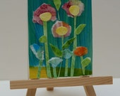 Floral Watercolor Collage Plaque or Magnet and Easel by Marji Stevens