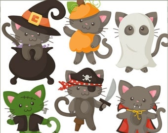 Halloween Clipart Cats in Costume -Personal and Limited Commercial Use- kitty witch, vampire kitty, frakenkitty, cat clip art