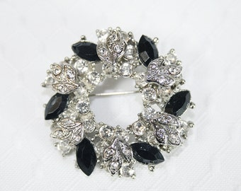 Vintage Black Clear Rhinestone Pin Brooch Any Occasion