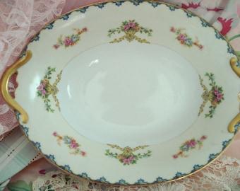 Vintage Serving Dish Bowl Noritake China Shabby Cottage Chic Floral Rose 1940s