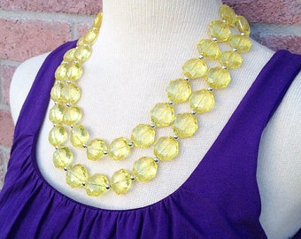 Chunky Yellow Big Beaded Statement Necklace