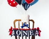 BOY BIRTHDAY BANNER / Sailboat birthday banner / One highchair banner / First birthday highchair banner / Smash cake banner / Cake smash