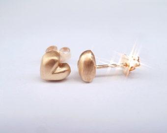 MARGARA'S Junior Heart SOLID 14K Rose Gold Stud Earrings