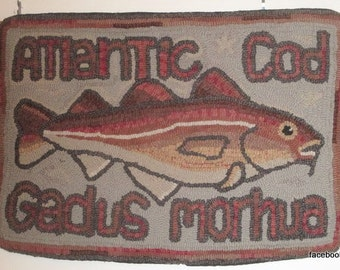 hooked rug,   ,  wool  on a linen  foundation,  Cod Fish,   floor rug, wall hanging, designed & hooked by me