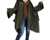 NO.179 Dark Olive Cotton Jersey Loose-Fitting Zip Front Jacket, Oversized Hooded Poncho, Women's Jacket