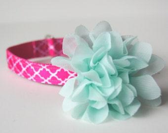 Mint Chiffon Flower Dog Collar Attachment