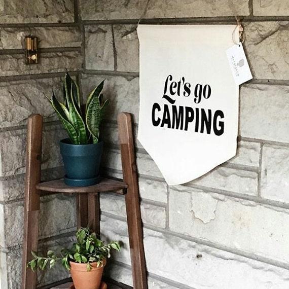 """Handmade Medium """"Let's Go Camping"""" Wall Banner - Hanging Wall Pendant - Handmade Wall Banner"""