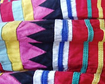 Vintage Girls' Intricate Patchwork Skirt . Cotton . 1950s . Seminole Patchwork Design . Handmade